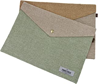2Pcs Slim Linen Felted Envelope Expanding File Holder Sleeve Carrying Case Organizers A5 A4 Paper Document Receipt File Folders Conference Paperwork File Jackets Pockets Wallet,Button on Closure