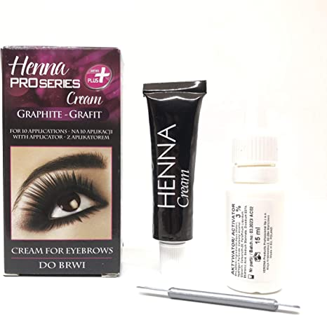 Tinte profesionales para cejas, Duracion hasta 14 días, 5 veces de aplicaciones, 15 ml HENNA KIT Negro/Marrón/Gris Activador incluido (Gris)