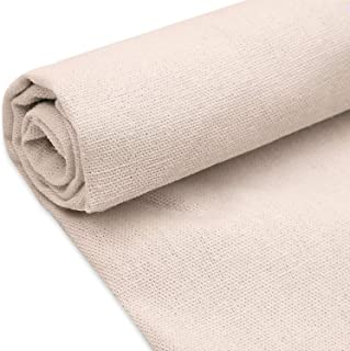 Natural Linen Fabric Solid Colored Needlework Cross Stitch Cloth for Making Garments Crafts, 62 by 20 inches (Cream White, 1 Piece)