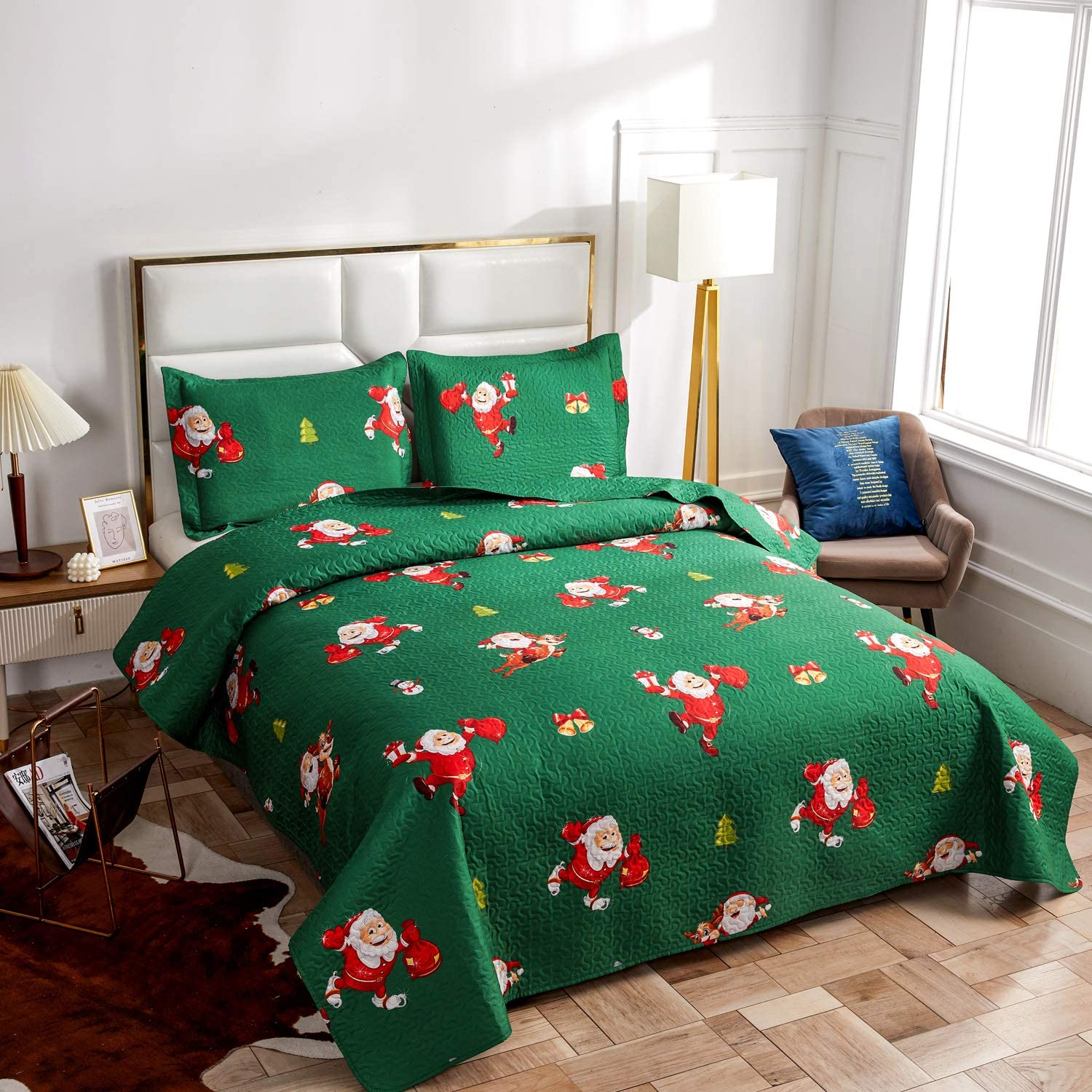 Christmas Bedding Set Full/Queen Size Quilts Blanket with Santa Claus/Snowman/Deer Reversible Lightweight Bedspreads Coverlet for Xmas Gift