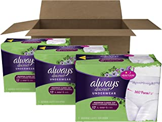 Always Discreet Incontinence & Postpartum Underwear for Women, Disposable, Maximum Absorbency, Large, 51 Count