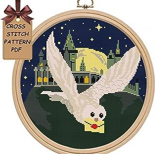 Cross stitch patterns owl pdf, Hogwart modern counted easy for beginners cross stitch sampler, starry night moon cross stitch chart, Wall decor DIY