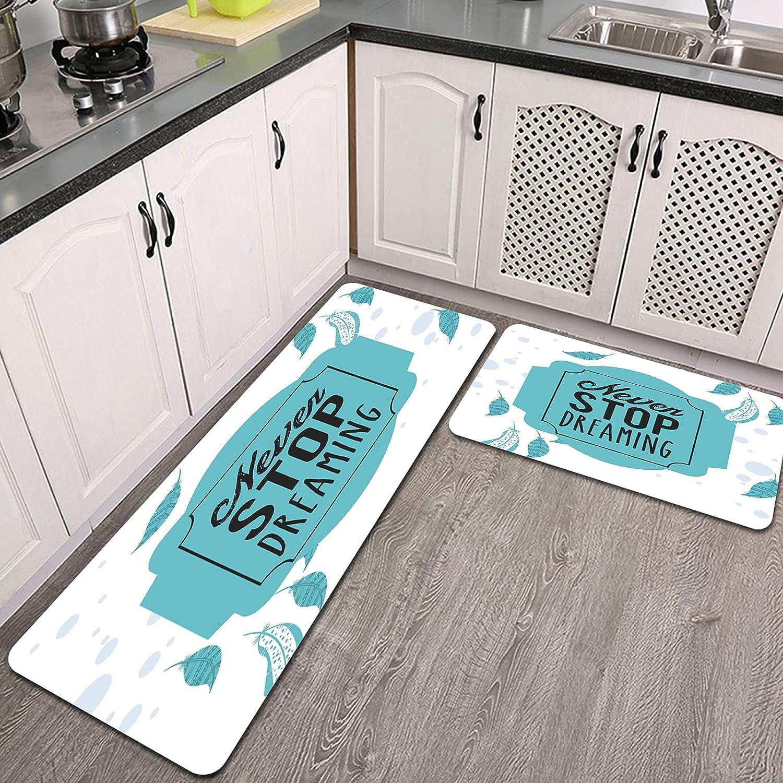 2 Pieces 100% quality warranty Kitchen Rug Set neven dreamingWater Absorb Microfi Regular dealer Stop