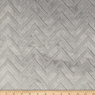 Shannon Minky Embossed Chevron Cuddle Silver