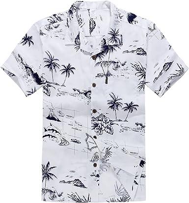 Hombres Aloha camisa hawaiana en Mapa y Paisajes Blanco
