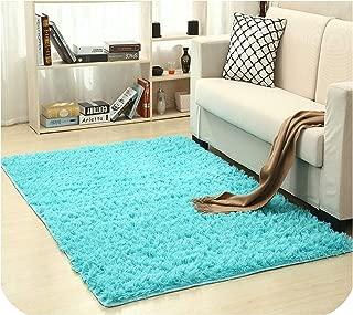 Drem-Wardrobe Super Soft Silk Wool Rug Indoor Modern Shag Area Rug Silky Rugs Bedroom Floor Mat Baby Nursery Rug Children Carpet,Sapphire,160X200Cm