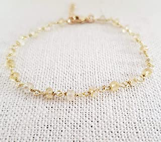 Citrine Bracelet - Gemstone Jewelry - Wire Wrapped Rosary Chain - 14k Gold Filled - Gift for Her