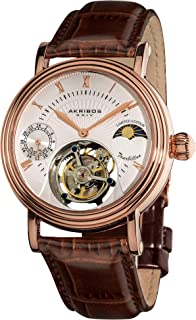 Akribos Mechanical Tourbillon AM/PM (Moonphase Design) Watch - Skeletonized Face with Automatic Dual-time Dial - Limited Edition Genuine Croco-Embossed Calfskin Leather Band - AK493