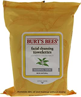Burt's Bees Facial Cleansing Towelettes, White Tea Extract, 30 Count
