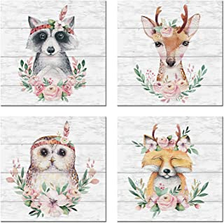Woodland Baby Animals Floral Crowns Wall Art Canvas Set of 4 for Kids Room Decor Nordic Cute Woodland Animals Wall Picture...