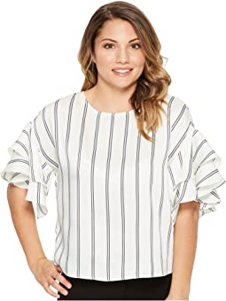 Petite Tiered Ruffle Sleeve Stripe Theory Blouse
