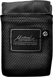 Matador Pocket Blanket 2.0 New Version, Picnic, Beach, Hiking, Camping. Water Resistant with Built-in Ground Stakes (Black)
