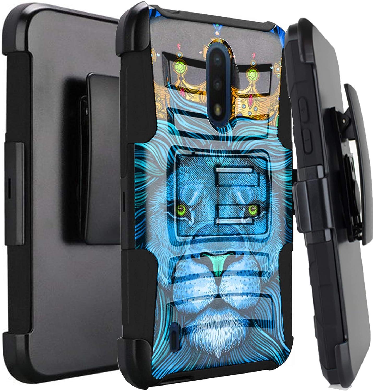 DALUX Hybrid Kickstand Holster Phone Case Compatible with Nokia C2 Tava / C2 Tennen/Nokia 2 V Tella - Blue Royal Lion