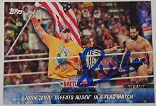 Rusev Signed 2018 Topps WWE Road to Wrestlemania Card #96 Autograph vs John Cena - Autographed Wrestling Cards