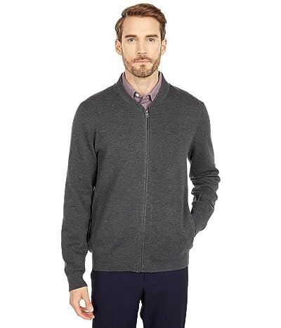 Dockers Full Zip Bomber Sweater Jacket (Dark Gray Heather) Men