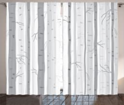 Ambesonne Grey Decor Collection, Birch Trees in Autumn Fall Branches Forest with Soft Light Colors Modern Graphic Print Decor, Living Room Bedroom Curtain 2 Panels Set, 108 X 84 Inches, Ash Gray