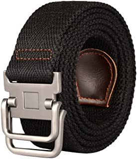 Drizzte Plus Size 47 to 75'' Long Double D Ring Mens Canvas Cloth Web Belt