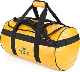 The Friendly Swede Wasserfeste Reisetasche Duffle Bag Rucksack - 30L / 60L / 90L - Seesack, Sporttasche Duffel Dry Bag mit Rucksackfunktion - SANDHAMN Gelb, 60L