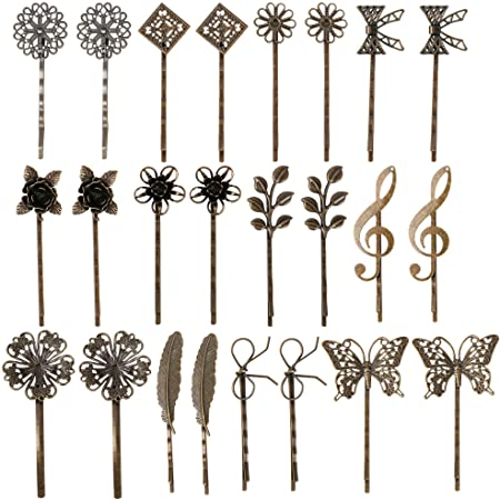 Crimped Metal Hair Pins Hold-Bob Bob Pins NOS Copper Silver Light Brown Vintage
