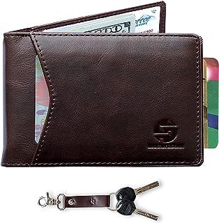 Leather&Steel Genuine Leather Slim RFID Blocking Money Clip Wallet | Cord Organizer | Key Chain Fob | Accessory Set For Men