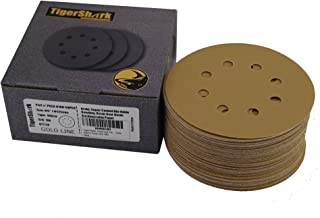 TigerShark 5 Inch Sanding Discs 8 Hole Grit 180 50pcs Pack Special Anti Clog Coating Tigershark Paper Gold Line Hook and Loop Dustless Random Orbital Sander Paper Fine