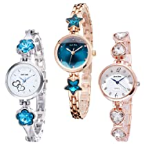 casera Formal Analogue Girl's Watch with Metal Strap(Multicolour Dial multicolour Colored Strap)-3 combo set
