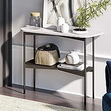 Nathan James Jasmine Modern Sofa Entryway Faux Marble Console Narrow Metal Frame, Foyer or Hallway Table, Black
