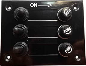 Pactrade Marine Boat 3 Gang Bakelite Plate Switch Panel with 5A Fuses Neoprene Toggle