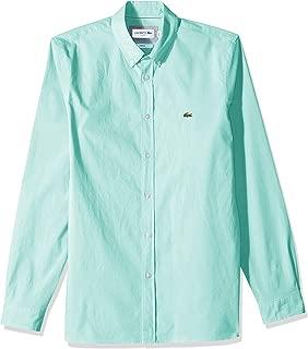 Lacoste Men's Long Sleeve Solid Poplin Stretch Collar Slim Woven Shirt, CH5816