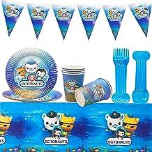 مجموعة لوازم المائدة للحفلات 26 قطعة من أوكتونات، طقم أدوات مائدة حفلات أوكتوناتس يتضمن أطباق العشاء والحلويات والمناديل ل...