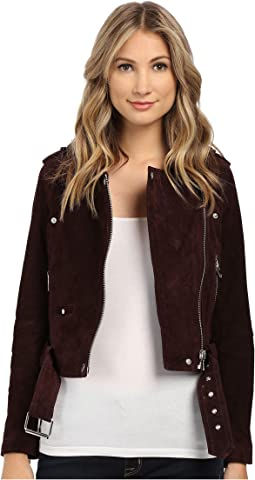 Burgundy Suede Moto Jacket in Morning After