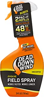 Dead Down Wind Evolve Field Spray – 12oz Bottle & 2 Pac-It Refill, Unscented, Broad-Spectrum, Odor-Eliminating Hunting Spray