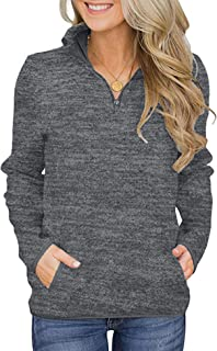 AKEWEI Women's Casual Stand Collar Sweatshirt Long Sleeve Quarter Zip Pullover T