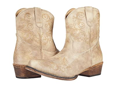 Roper Short Stuff (Tan Faux Leather) Cowboy Boots