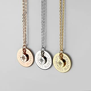 Custom Coordinates Necklace Personalized Graduation Gift North Star Pendant Necklace Compass Necklace Latitude Longitude - LCN-DC