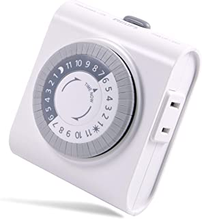 Philips 24-Hour Indoor Plug-in Mechanical Timer, 2 Polarized Outlets, 30-Minute Intervals, Push Pins, Daily Cycle, Overrid...