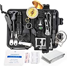 KOSIN Survival Gear and Equipment,18 in 1 Emergency Survival Kit, Professional Defense Tool with Knife Blanket Bracelets B...