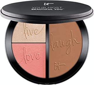 IT Cosmetics Your Most Beautiful You Anti-Aging Matte Bronzer, Radiance Luminizer & Brightening Blush Palette - With Hydro...