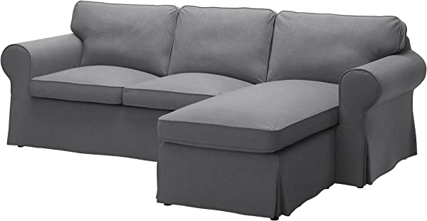 IKEA Original Ektorp Cover For Sofa With Chaise 3 Seat Sectional Cover Only Nordvalla Dark Gray