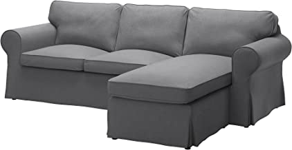 IKEA Original Ektorp Cover for Sofa with Chaise, 3-Seat Sectional (Cover Only (Nordvalla Dark Gray)