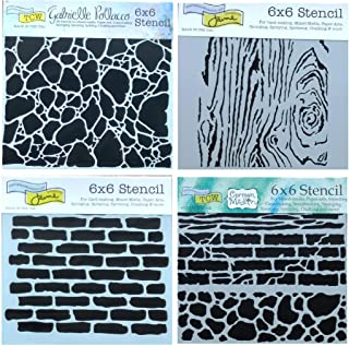 4 Mixed Media Stencils Set | Brick, Wall, Stone, Wood Grain Designs | 6 Inch x 6 Inch Templates for Arts, Card Making, Journaling, Scrapbooking | by Crafters Workshop
