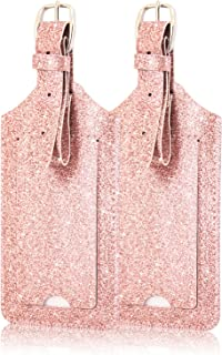 [2 Pack]Luggage Tags, ACdream Leather Case Luggage Bag Tags Travel Tags 2 Pieces Set, Glitter Rose Gold