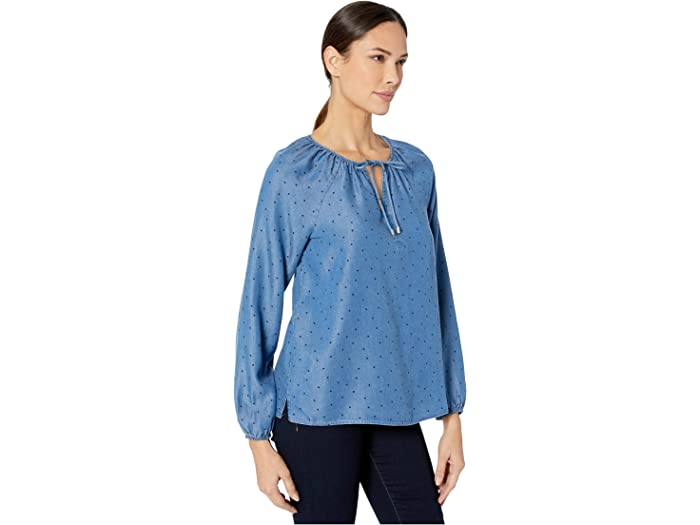 Nydj Peasant Blouse Speckled Dot Shirts & Tops