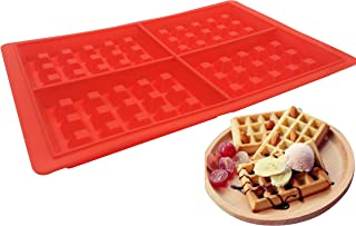 4-Cavity Silicone Waffle Mold, Belgian Waffle Chocolate Candy Soap Non-Stick Microwave Dishwasher Freezer safe - Oven Safe Heat Resistant Up To 450°F