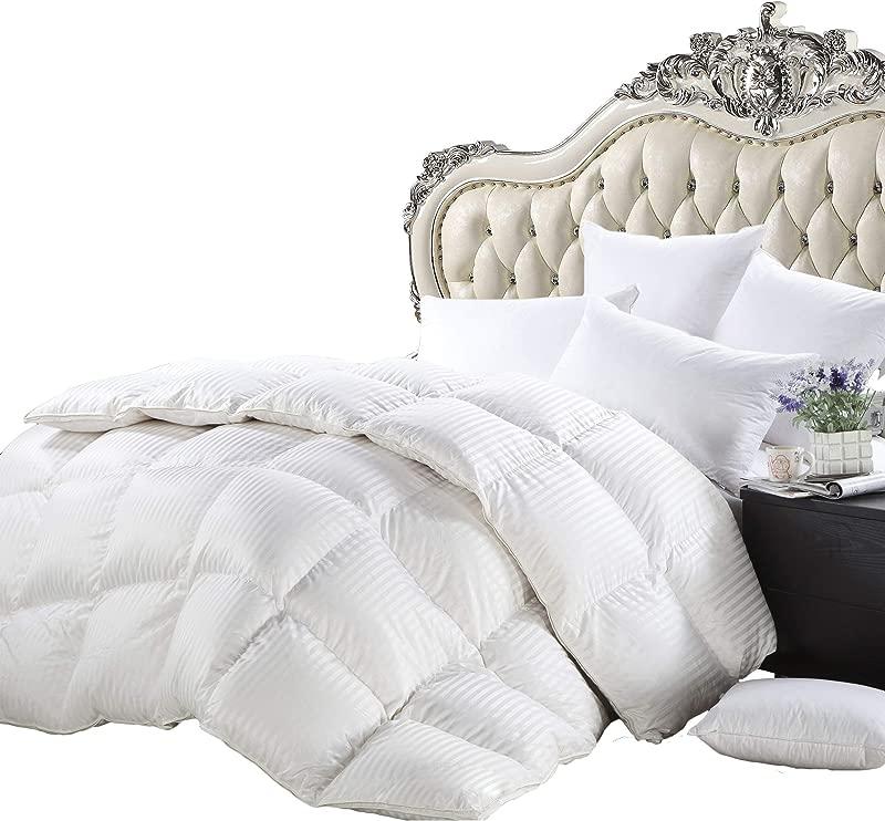 Luxurious Heavy Twin Twin XL Size Siberian Goose Down Comforter All Season Duvet Insert Premium Baffle Box 1200 Thread Count 100 Egyptian Cotton 750 Fill Power 50 Oz White Damask Striped