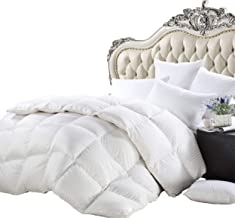 Luxurious Heavy Twin/Twin XL Size Siberian Goose Down Comforter All-Season Duvet Insert, Premium Baffle Box, 1200 Thread Count 100% Egyptian Cotton, 750+ Fill Power, 50 oz, White Damask Striped
