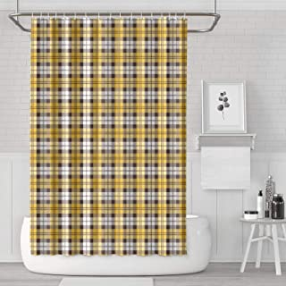 GuLuo Shower Curtains Sets Wyoming-Cowboys Lattice-Miami-Hurricanes Decor Bathroom Curtain 71x71 Inches