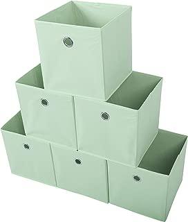 Amelitory Storage Bins Foldable Cube Organizer Fabric Drawer Set of 6 Light Green