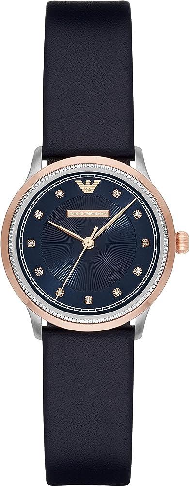 Emporio armani, orologio per donna, in acciaio inossidabile, cinturino in pelle e cristalli sul quadrante AR2066