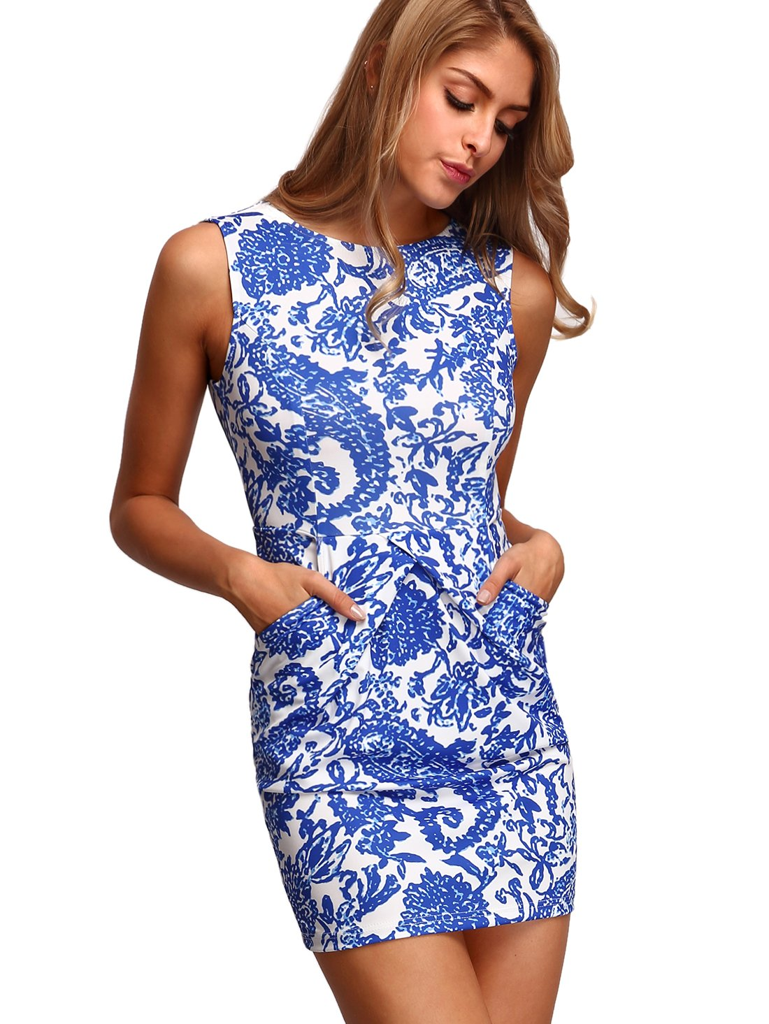 Available at Amazon: Floerns Women's Pocket Sleeveless Tribal Print Bodycon Dress